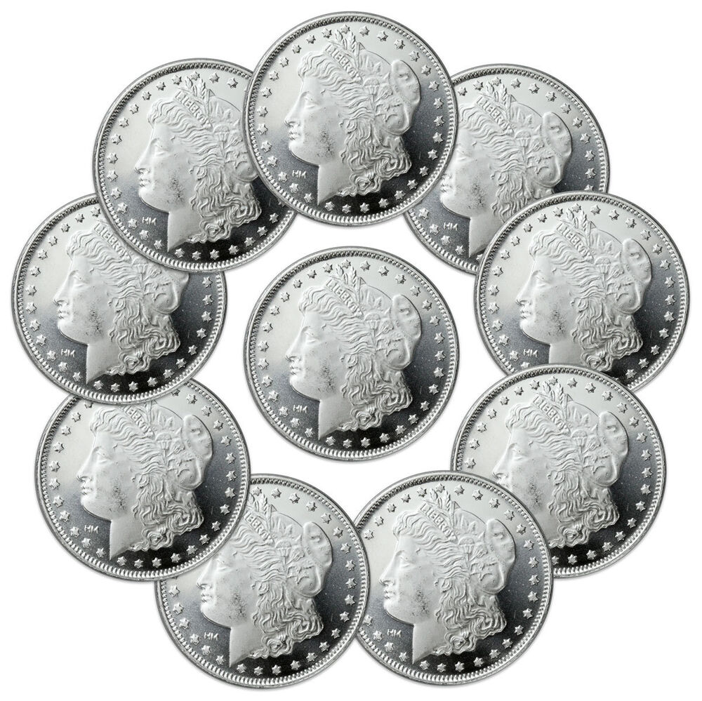 Lot Of 10 Morgan Design 1 Oz 999 Fine Silver Rounds