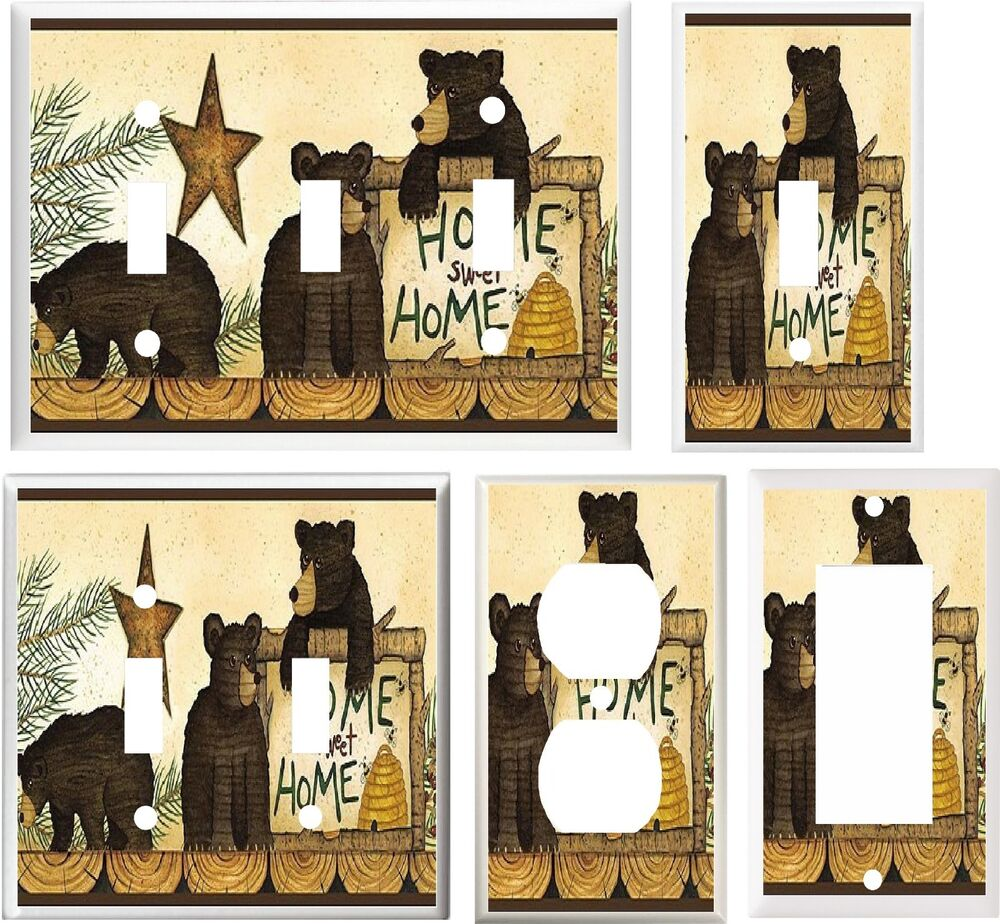 Black bears rustic cabin decor 5 image light switch for Rustic bear home decor