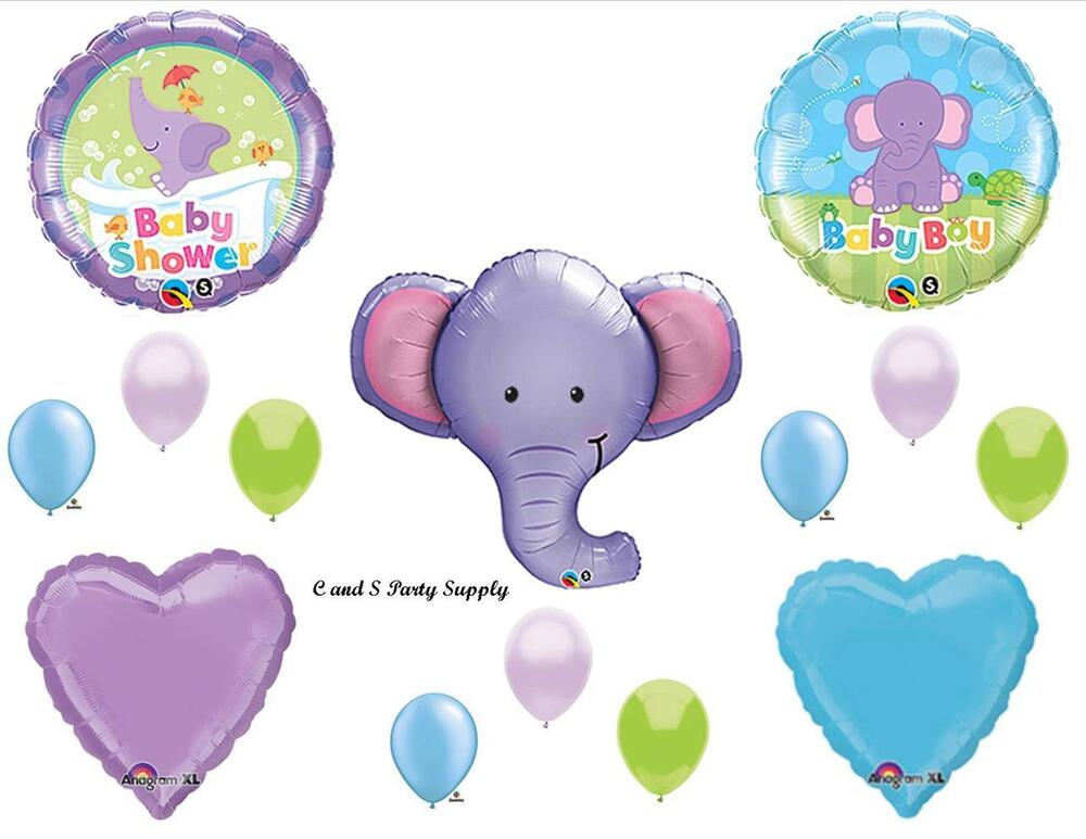 purple elephant baby boy balloons decorations supplies baby shower