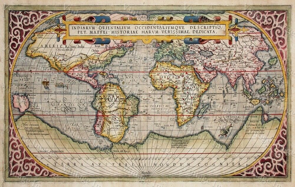 Large Historic 1589 WORLD MAP OLD ANTIQUE STYLE WALL MAP