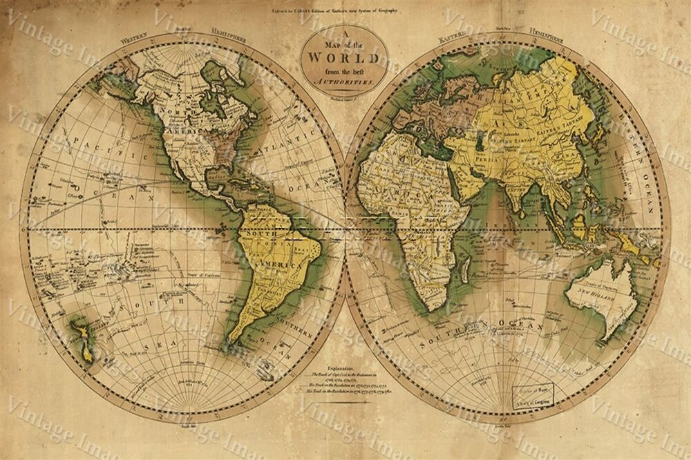 Large Historic 1780 Old Antique Style World Map Guthrie S Atlas Fine