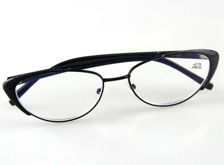 Black Metal Frame Glasses : New Womens Reading Glasses Fashion Style Black Metal ...