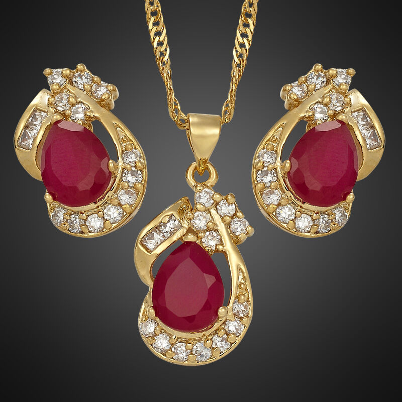Pink Ruby Jewellery: Xmas Wedding Party 18K Yellow Gold Plated Red Ruby Jewelry