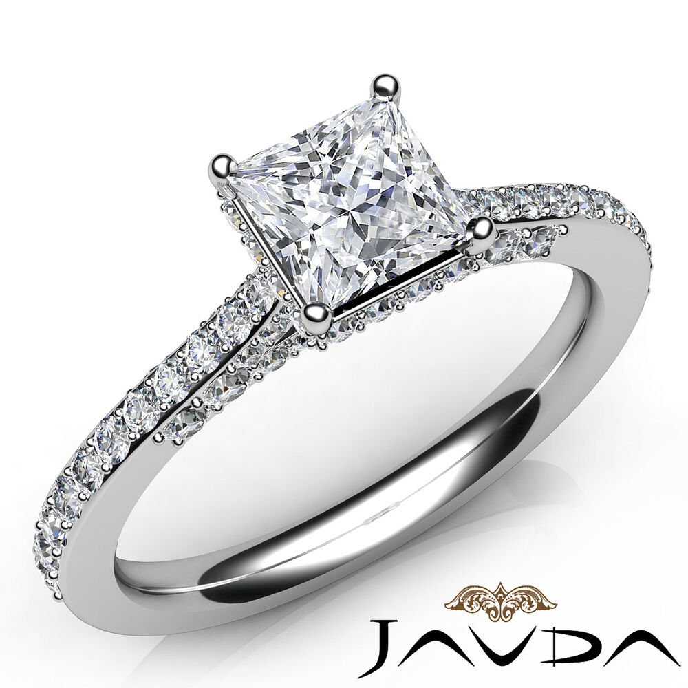 Princess cut pave set diamond engagement ring gia e color for Platinum princess cut wedding rings