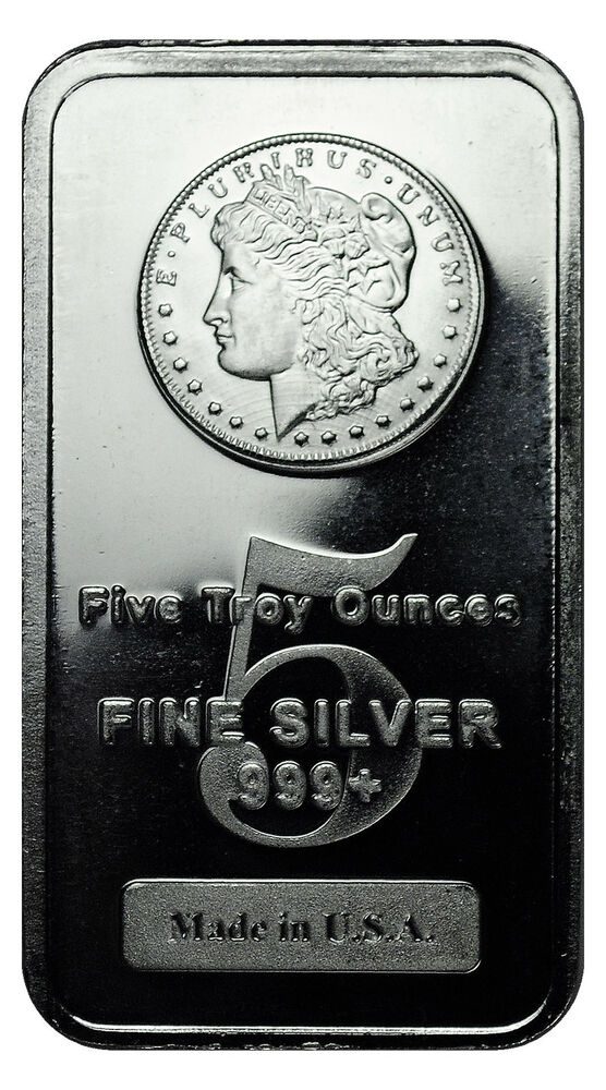Morgan Dollar Design 5 Troy Oz 999 Fine Silver Bar Made