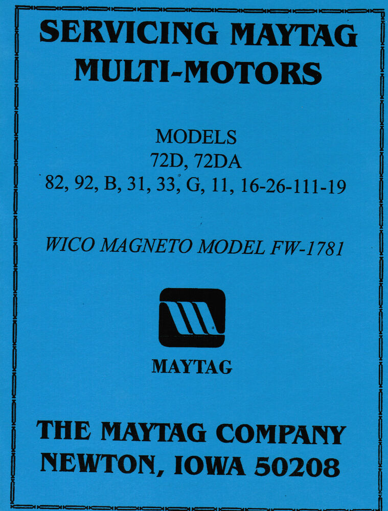 Maytag Gas Motor Engine Service Book Parts Manual Amp Serial