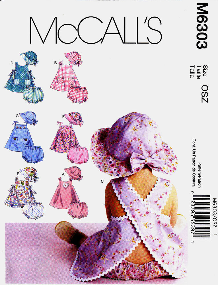Mccall S Sewing Pattern M6303 Baby Clothes S Xl Infant