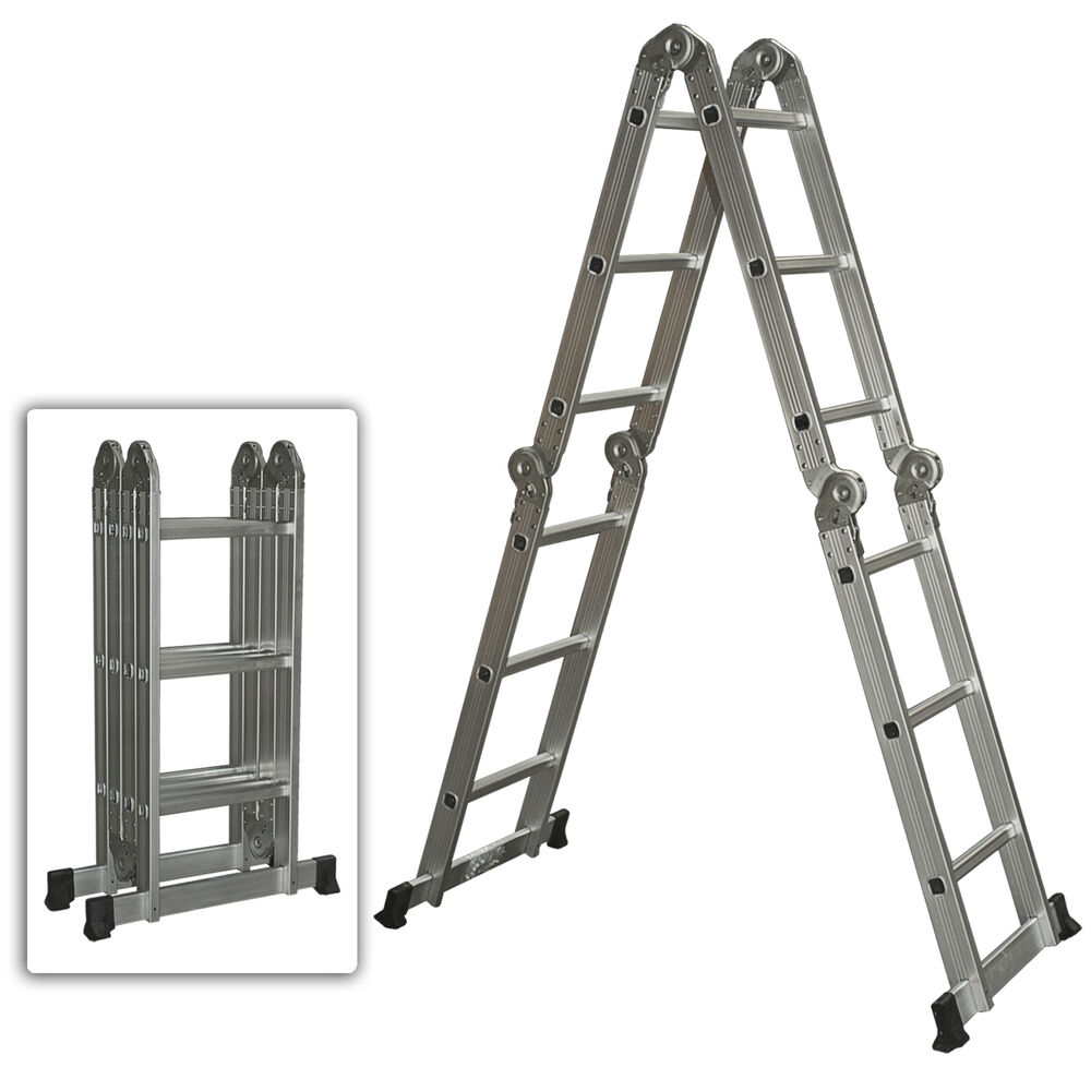 6ft Multi Purpose Step Ladders : Multi purpose aluminum ladder folding step