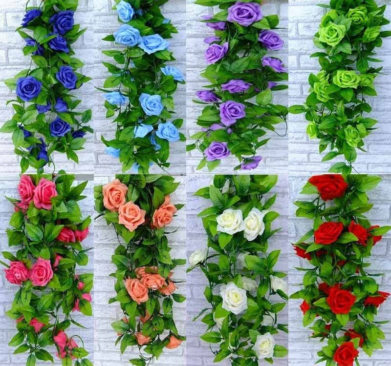 Fake silk rose flower ivy vine hanging garland wedding for Home decorations on ebay