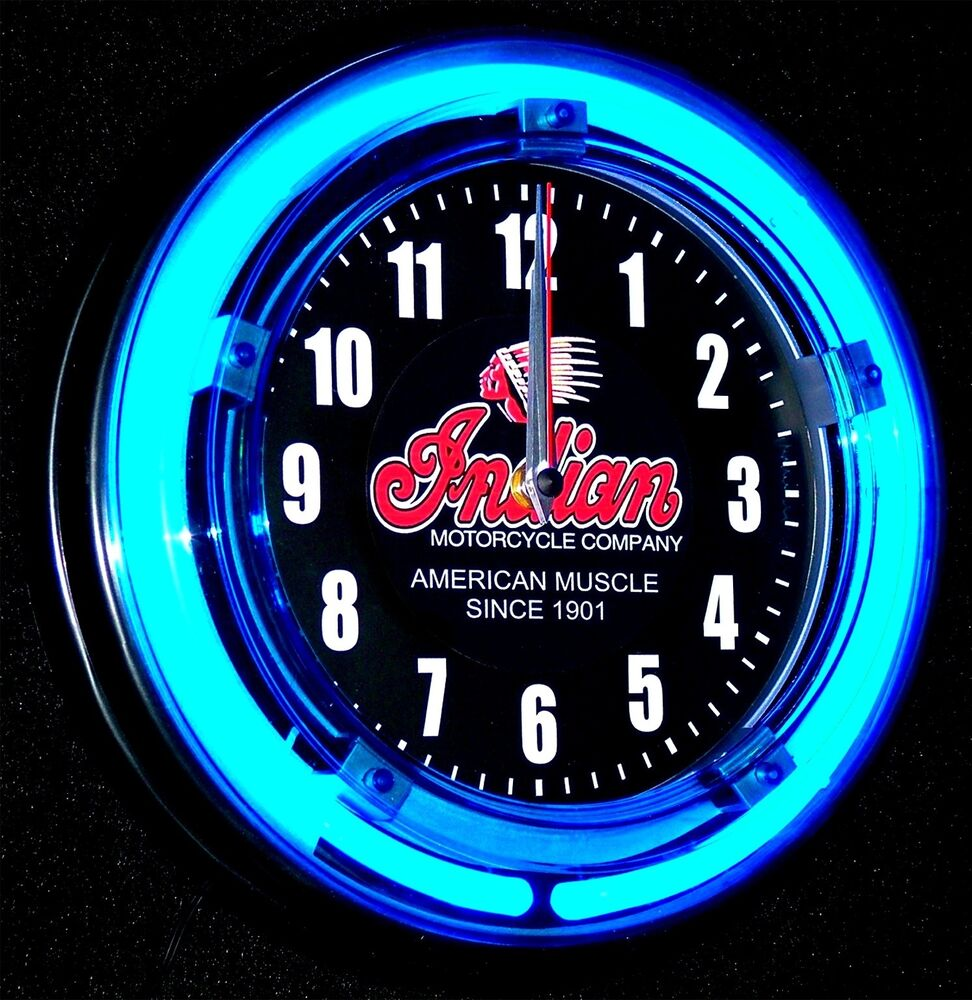 Indian Motorcycle Logo 11 Blue Neon Clock New