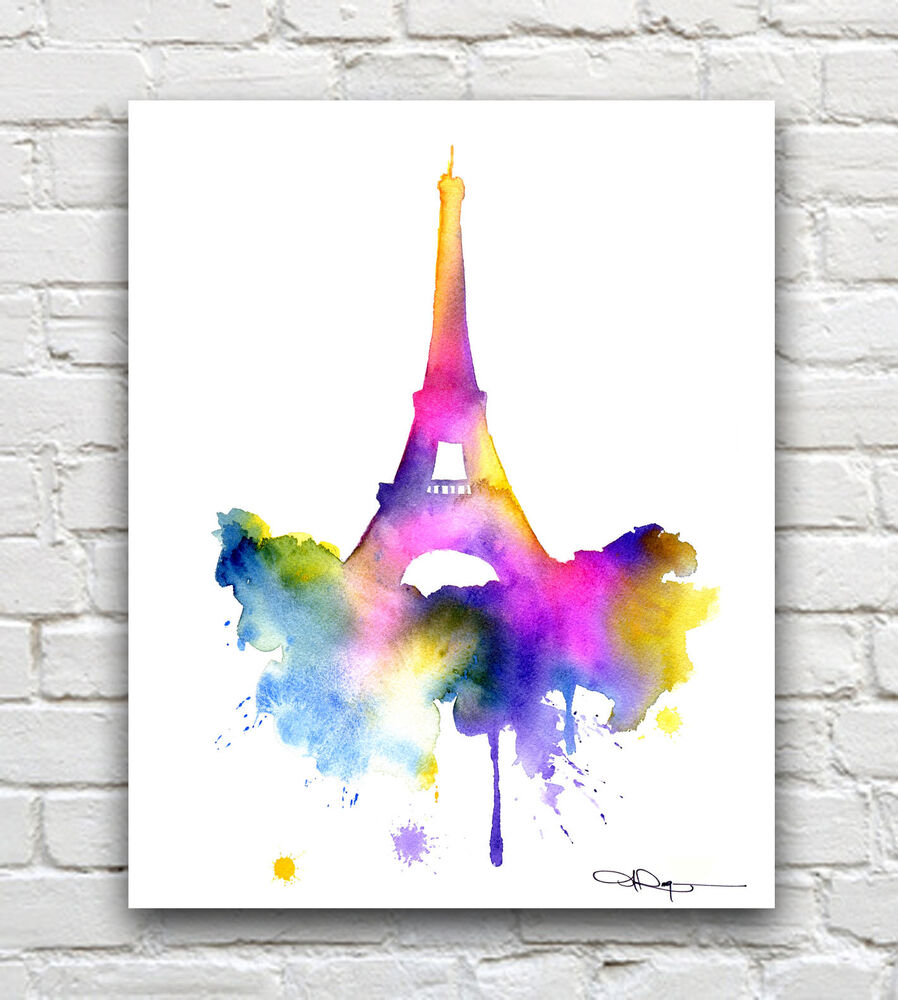 Eiffel Tower Abstract Paris Watercolor Painting Art Print