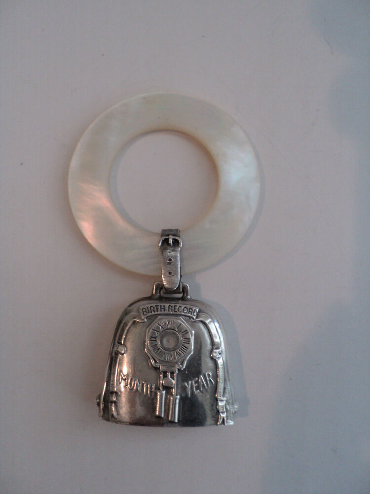 Vintage Sterling Silver Baby Birth Record Rattle