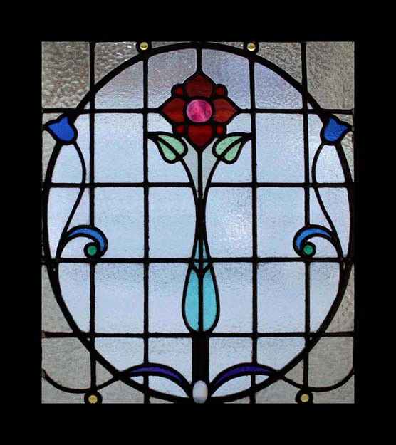 The very best floral art nouveau antique scottish stained for Art glass windows