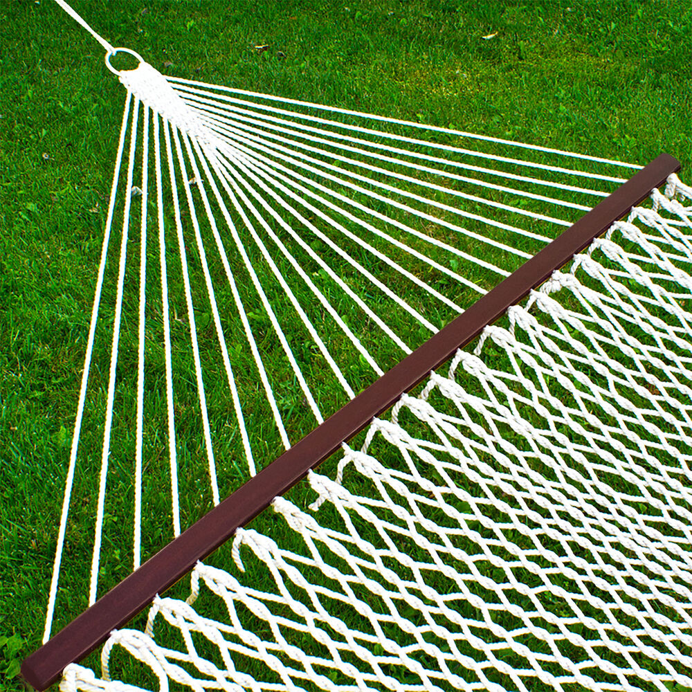 "Patio Hammock: Hammock 59"" Cotton Double Wide Solid Wood Spreader Outdoor"