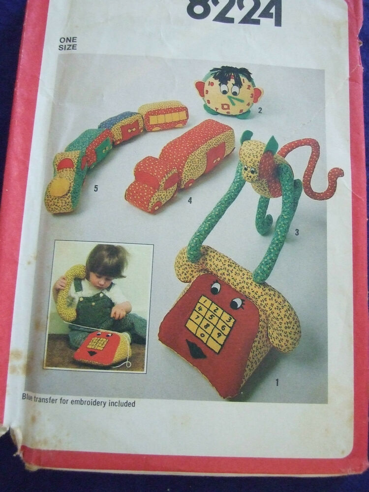 Uncutvintage simplicity 8224childs soft toys sewing for Craft patterns to sew