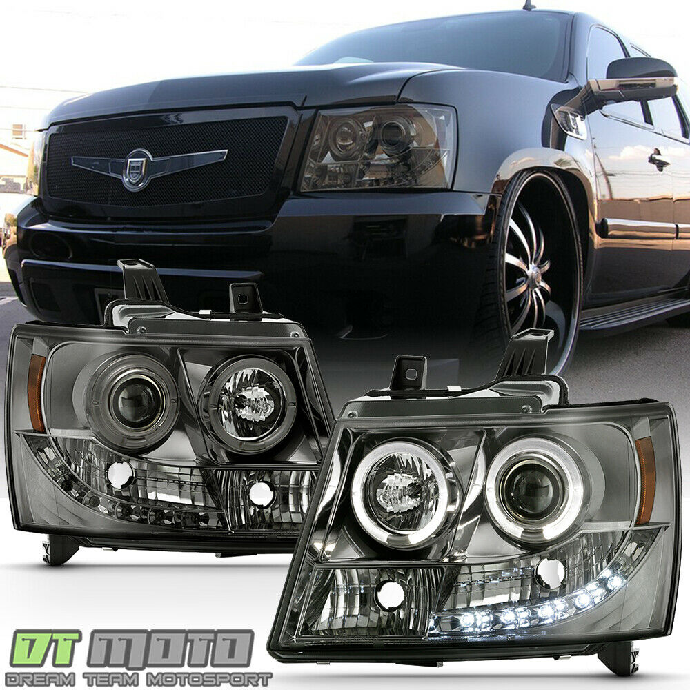 Smoked Tint Lens 07 14 Suburban Tahoe Avalanche Halo Projector Led Headlights Ebay