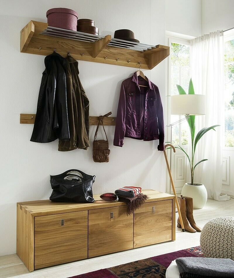 massivholz garderoben set 3teilig eiche ge lt dielen m bel flur garderobe ebay. Black Bedroom Furniture Sets. Home Design Ideas