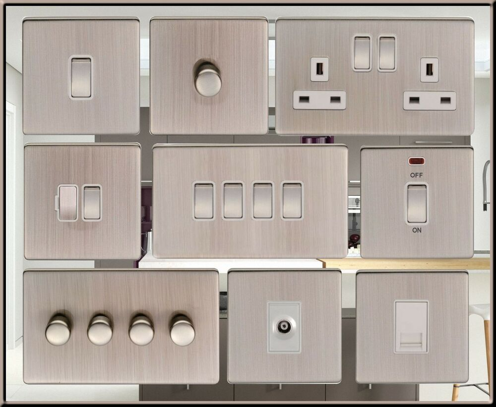 Screwless Satin Nickel Standard Or Led Dimmer Light