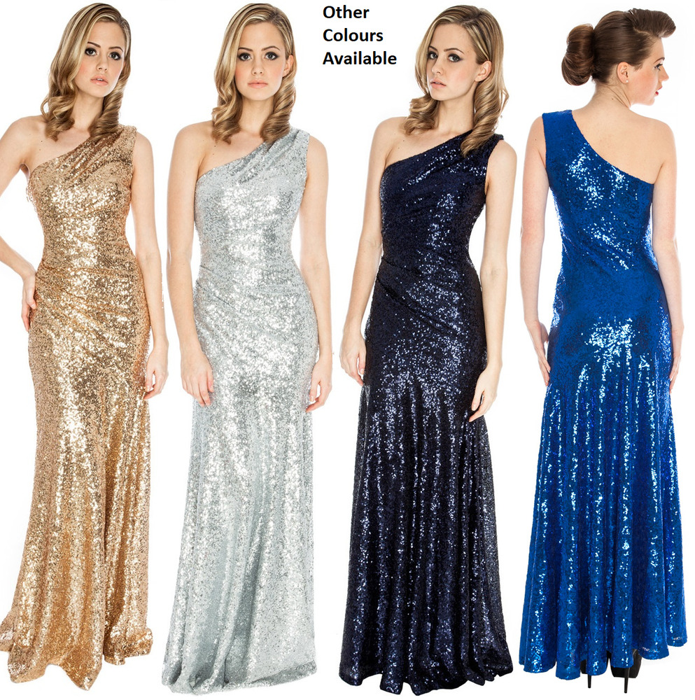 4c61c2c6 Details about Goddiva Long Sequin One Shoulder Evening Maxi Gown Dress Prom  Ball Party 8-14