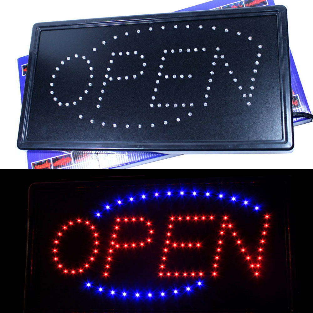 led neon animated motion running lighted open business sign horizontal. Black Bedroom Furniture Sets. Home Design Ideas