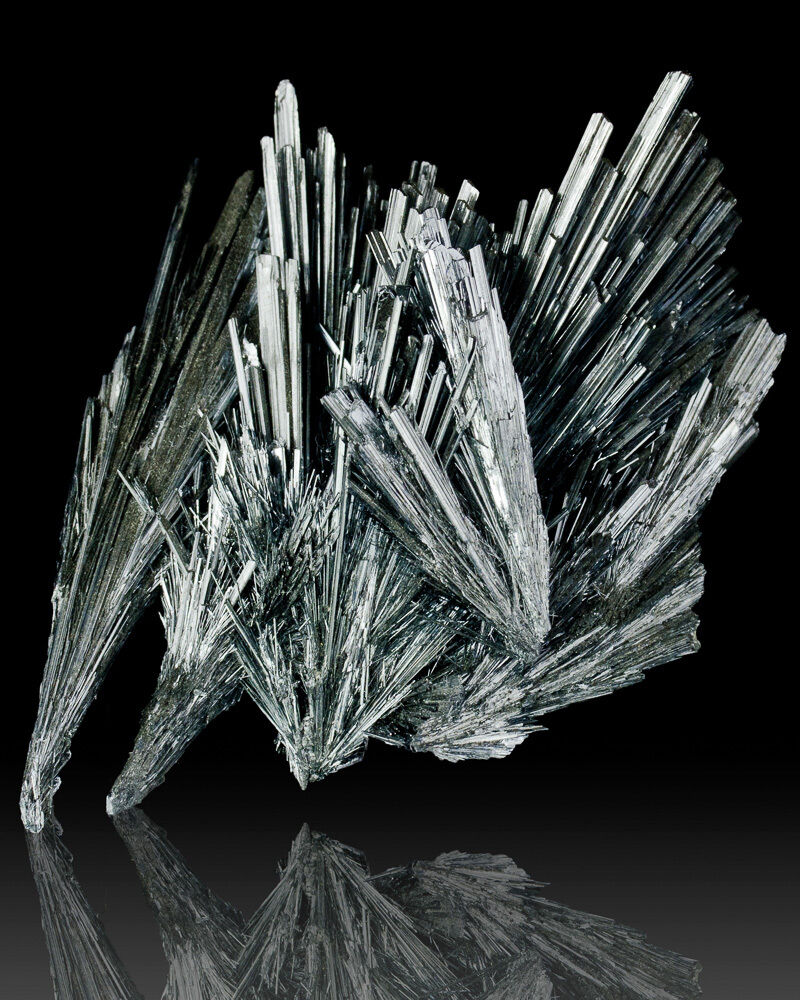 "Crystalline Silvers: 3.7"" Intricate Terminated Metallic Silver STIBNITE Crystal"