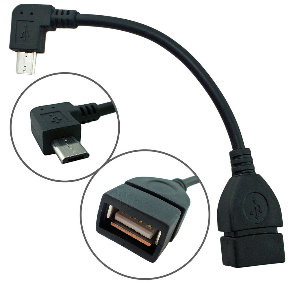 otg 90 270 degree right angle usb a female to micro b male cable mobile adapter ebay. Black Bedroom Furniture Sets. Home Design Ideas