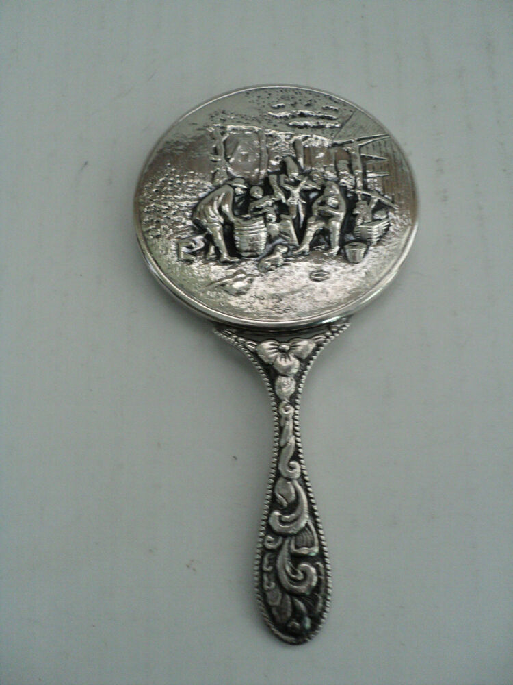 Vintage Small Chased Danish Silver Plated Purse Mirror Ebay