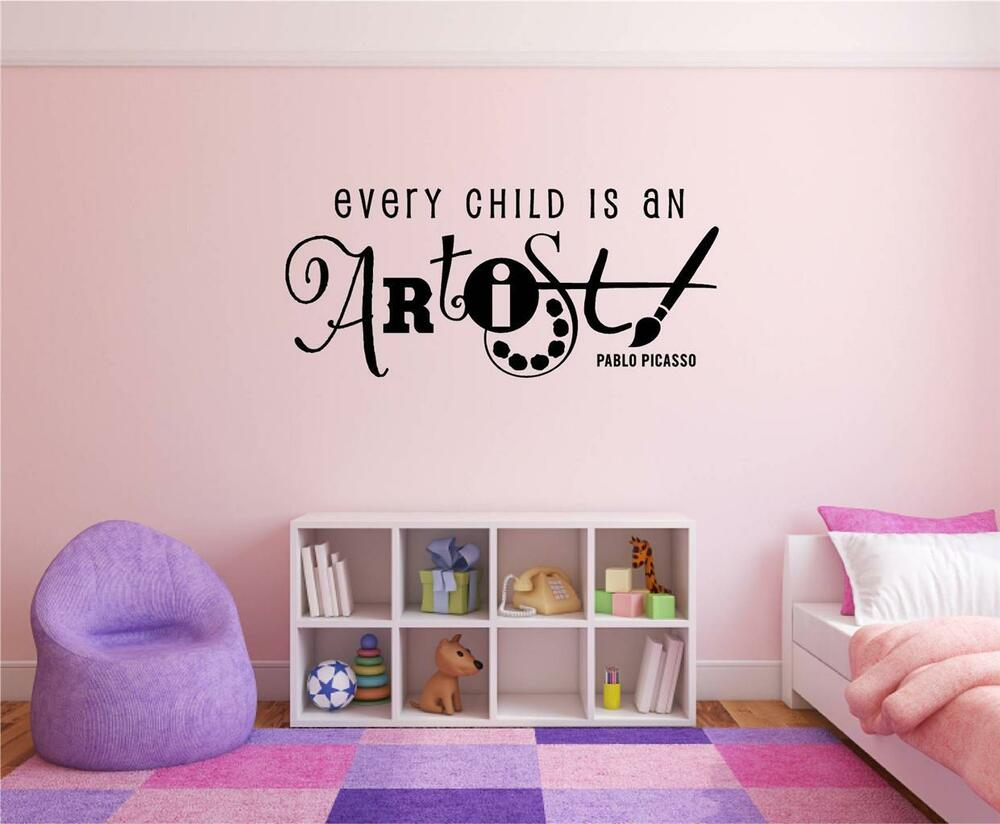 Every Child Is An Artist Picasso Vinyl Decal Wall Stickers