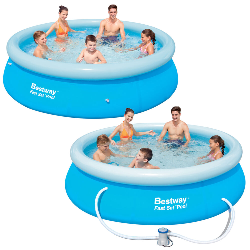 Bestway Fast Set Swimming Pool With Or Without Pump 8ft And 10ft Ebay