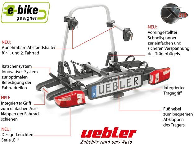 uebler x21 s fahrradhecktr ger ahk fahrradtr ger 2. Black Bedroom Furniture Sets. Home Design Ideas