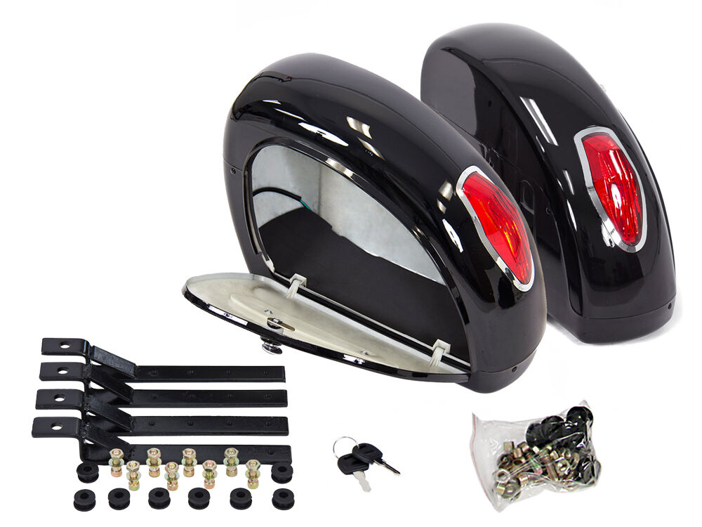 Black hard saddle bags trunk luggage w lights mount for Motor cycle saddle bags