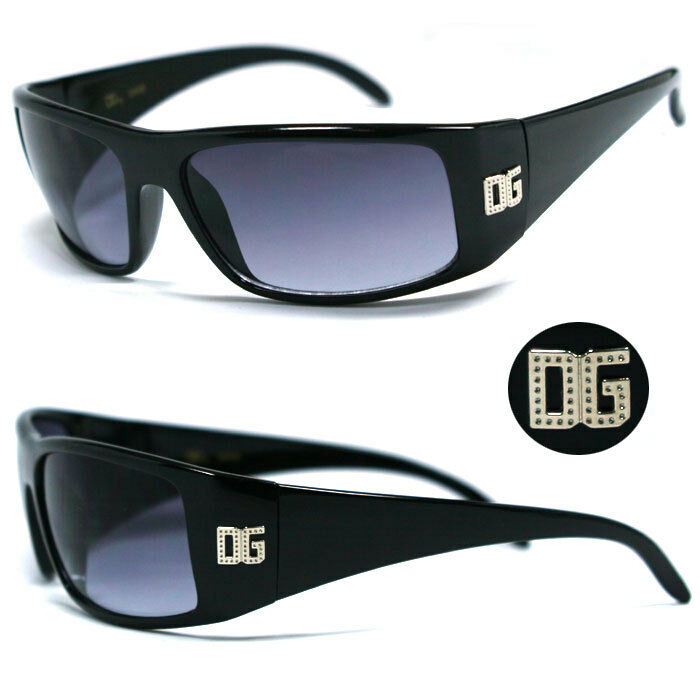 DG Logo Mens Eyewear Designer Fashion Sunglasses - Shaded Black DG162 ...