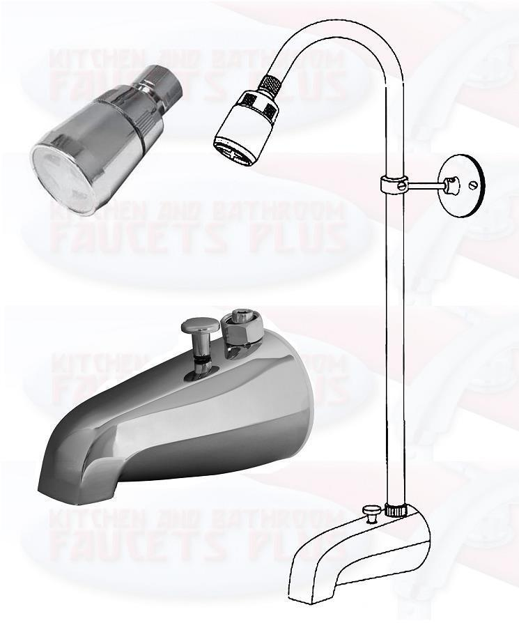 chrome bathtub diverter spout add a shower kit with shower riser shower head ebay. Black Bedroom Furniture Sets. Home Design Ideas