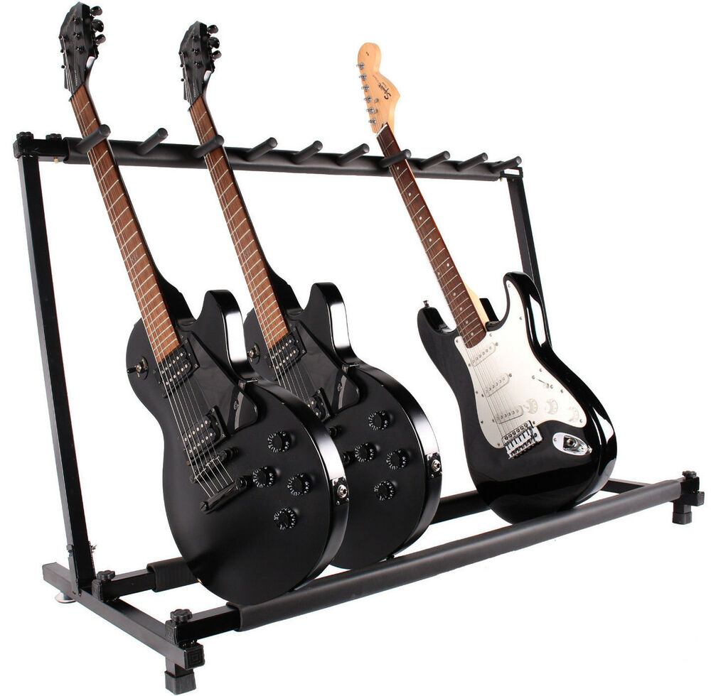 9 multiple guitar folding rack storage organizer electric acoustic stand holder ebay. Black Bedroom Furniture Sets. Home Design Ideas