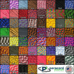 550 Paracord Mil Spec Type III 7 strand Solid, Multi, Camo,  25  50 100 feet