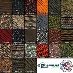 550 Paracord Type III Parachute Cord Solid and Camo Rope 10, 25, 50, 100 Feet