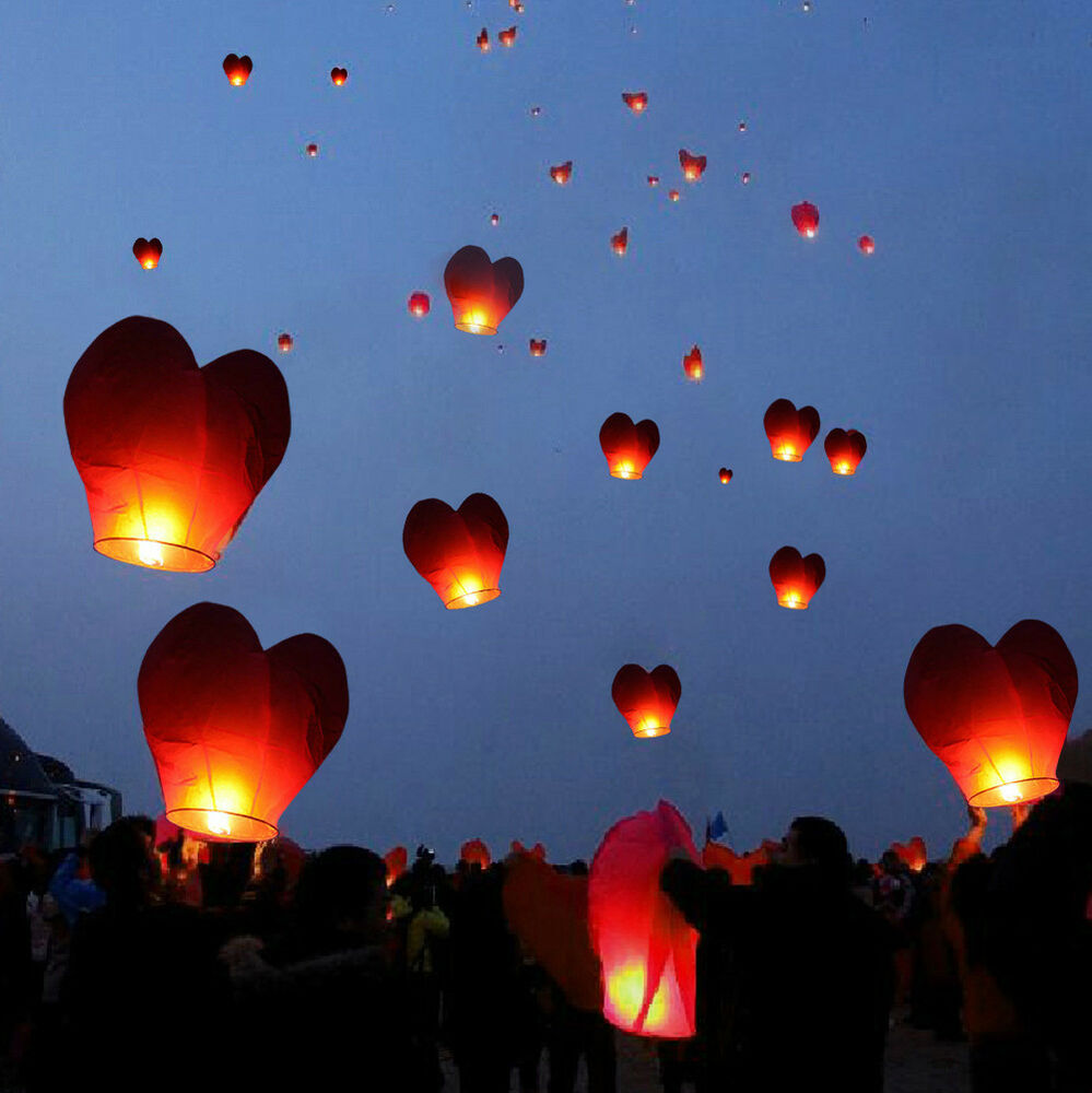 20 Red Heart Paper Chinese Lanterns Sky Fly Candles Lamps ...