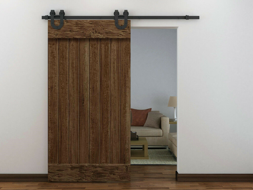 6ft Country Black Barn Wood Steel Sliding Door Closet