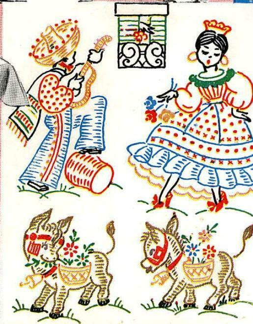 Vintage hand embroidery mexican motifs for aprons