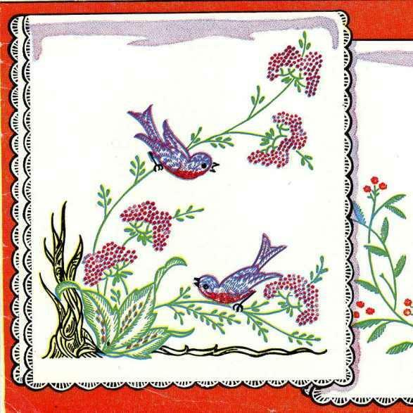Vintage hand embroidery transfer repo deer fawn birds