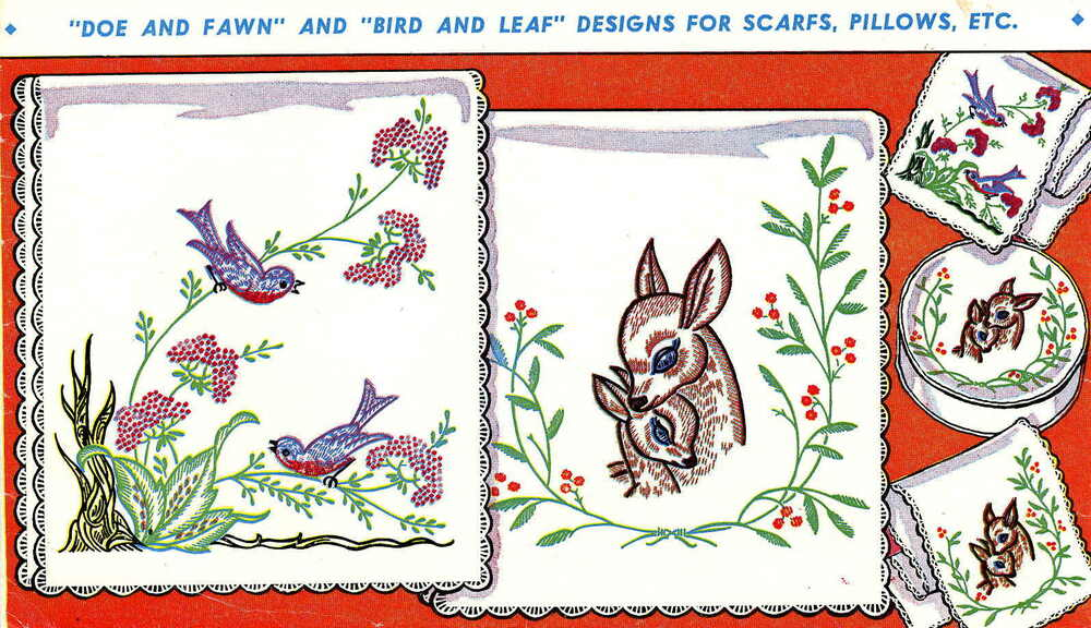 Deer fawn birds for dresser scarf vanity iron on