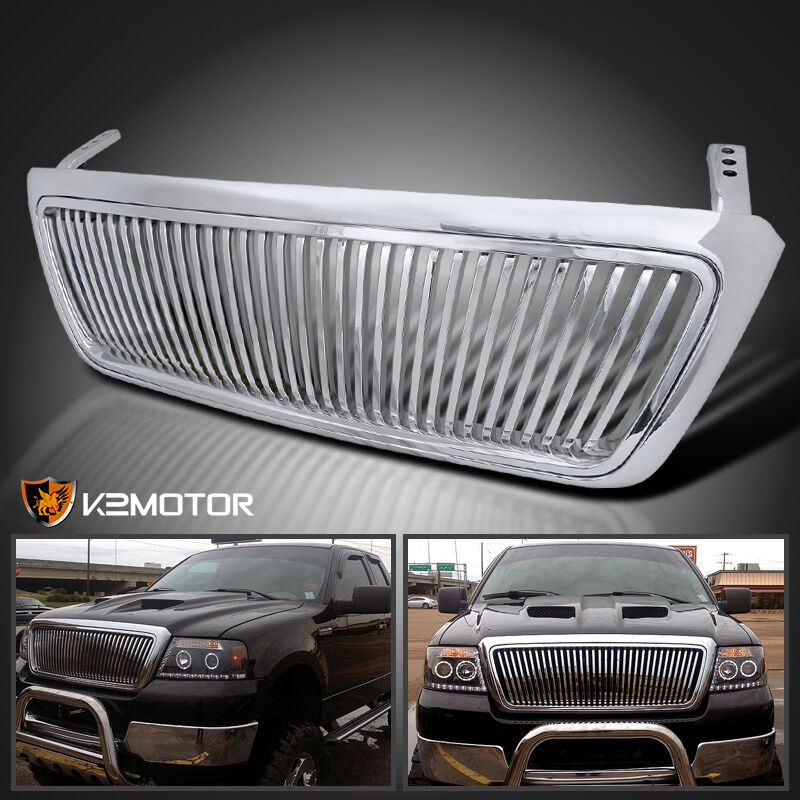 2006 Ford F150 Chrome Grill >> 2004-2008 Ford F150 F-150 Chrome Vertical Front Replacement Grill Grille ABS | eBay