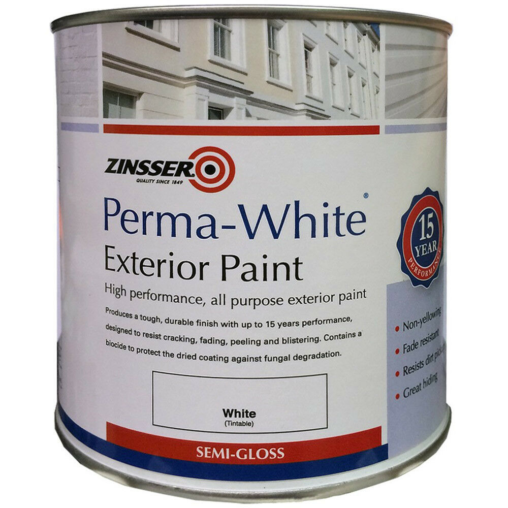 Zinsser perma white paint 1l exterior external self priming semi gloss 1 litre ebay - Zinsser exterior paint pict ...