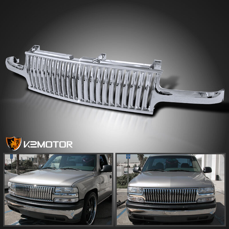 1999 2002 chevy silverado 00 06 tahoe suburban chrome vertical grill grille ebay