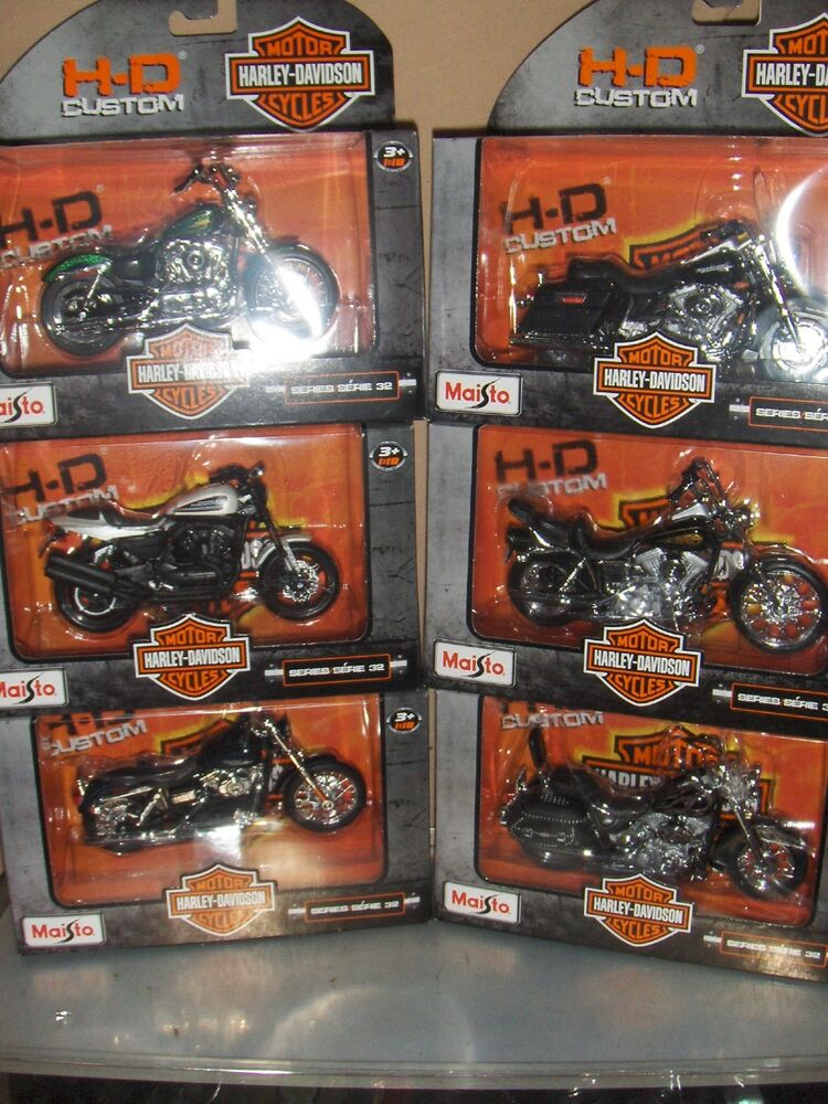 toy maisto set series 32 1 18 harley davidson motorcycle diecast 6 set ebay. Black Bedroom Furniture Sets. Home Design Ideas