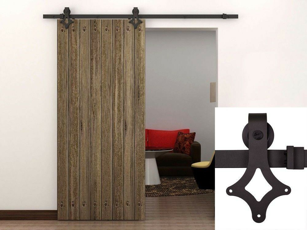 6ft dark coffee country antique barn wood sliding door for Barn door closet hardware