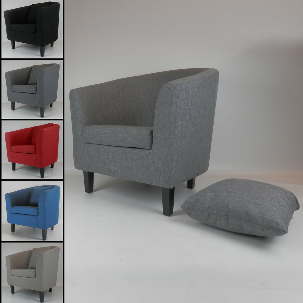 Fabric Linen Tub Chair Armchair Living Room Dining Office