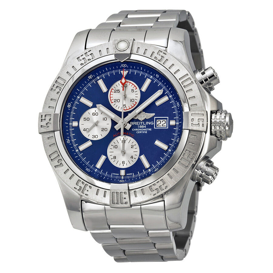 Breitling super avenger ii blue dial chronograph stainless steel mens watch 845960051187 ebay for Avengers watches