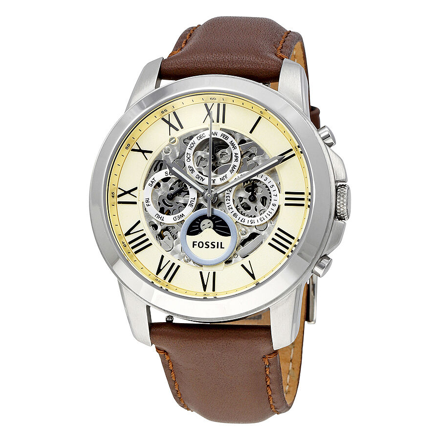 Fossil grant white dial brown leather mens watch me3027 ebay for Watches on ebay