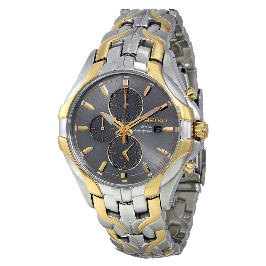 Seiko solar chronograph grey dial two tone mens watch ssc138 ebay for Solar watches